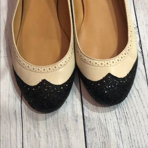 J. Crew Shoes - J. Crew Black White Sequin Tuxedo Leather Flats